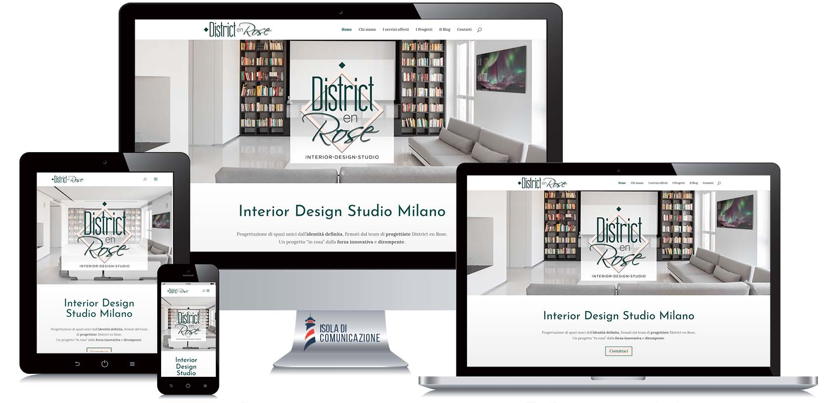 Responsive design, sito web per studio di interior design District en Rose