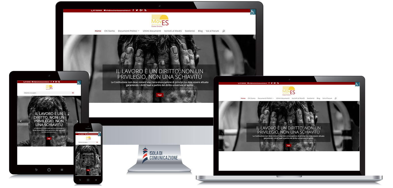 Responsive design, sito web per movimento politico MovES