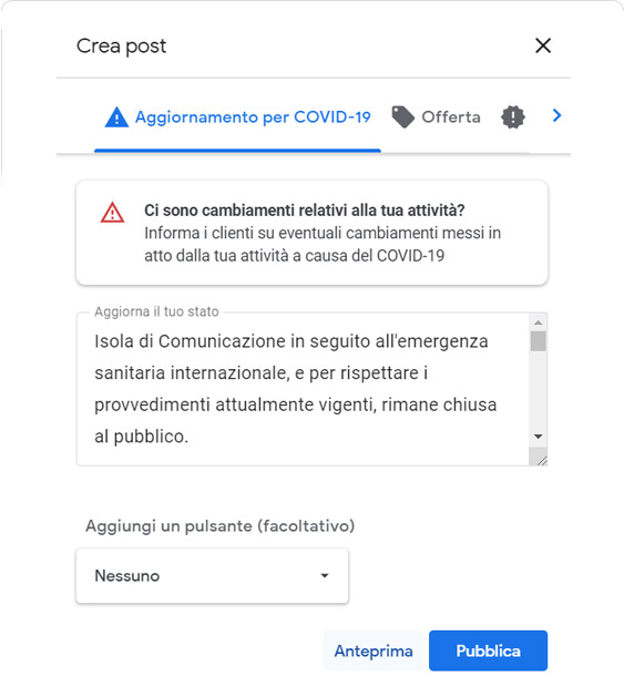 Google My Business, anteprima post Covid-19